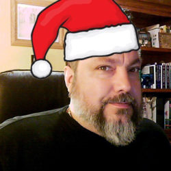 Geek Foundry Owner, Efrem R. Jasso with Santa hat