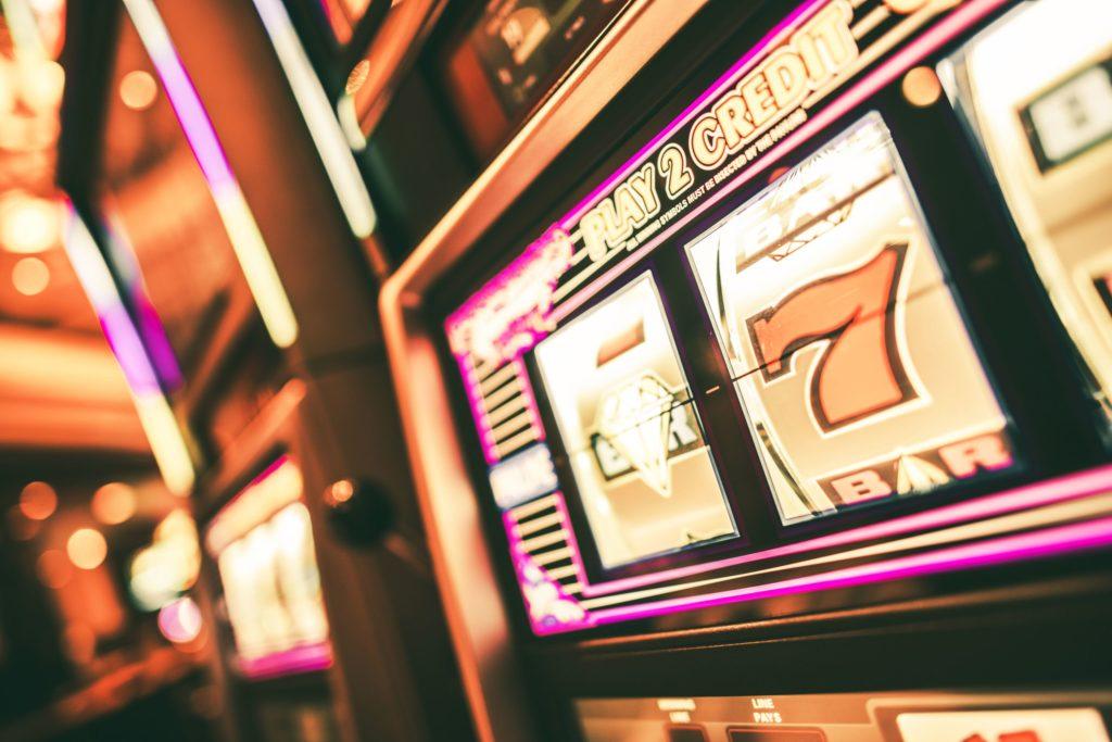 One-armed bandit slot machine.