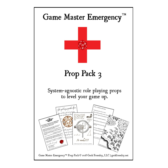 Geek Foundry Game Master Emergency Prop Pack 3 Cover