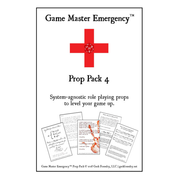 Geek Foundry Game Master Emergency Prop Pack 4 Cover