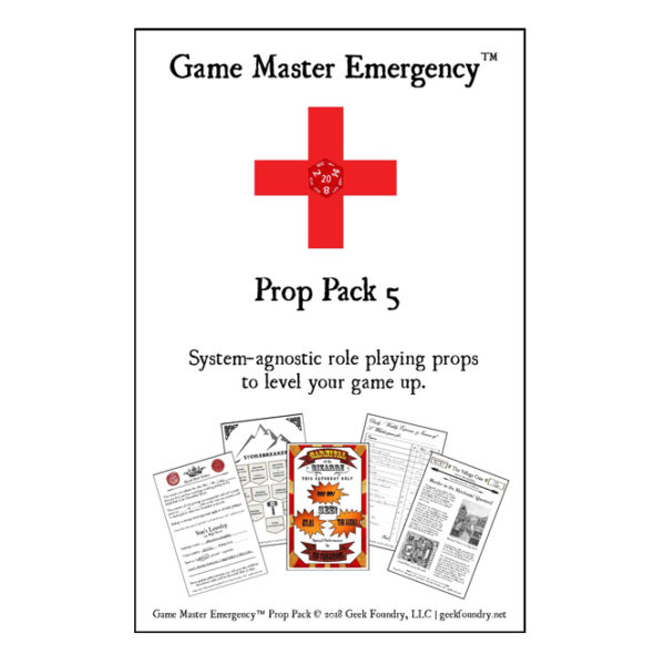 Geek Foundry Game Master Emergency Prop Pack 5 Cover
